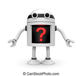 Robot with question - New technologies metaphor. Isolated on...
