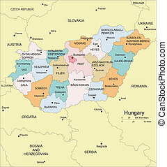Hungary with Administrative Districts and Surrounding...