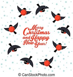 Christmas round dance bullfinches - Vector illustration with...