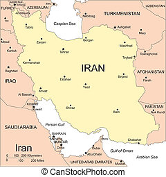 Iran, Major Cities and Capital and Surrounding Countries -...