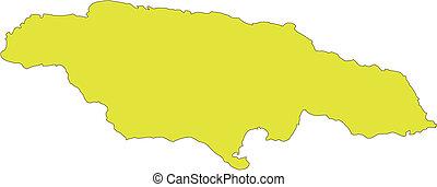 Jamaica, Island, Caribbean Sea - Jamaica, editable vector...