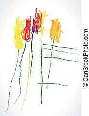 Vector dessin Tulips - Vector bouquet of tulips of childrens...