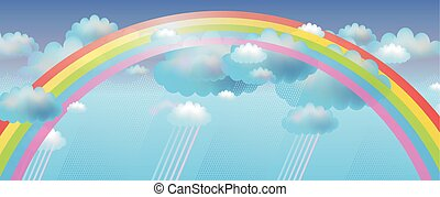 Vector background with rainbow