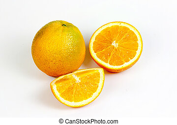 Orange fruit split on isolated white with clipping path