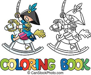 Brave boy on wooden horse. Coloring book - Coloring book or...