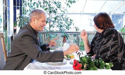 Man Loves Dessert - Mature couple having dinner in a nice...
