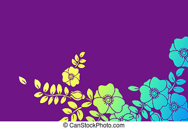 floral in purple background