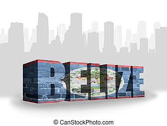 text belize with national flag of belize near abstract...
