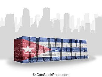 text havana with national flag of cuba near abstract...