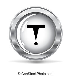 metallic button with a hazard sign - vector illustration of...