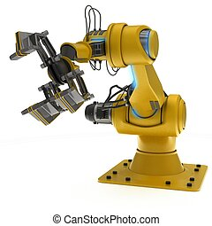 Industrial Robot Arm - 3D Render of an Industrial Robot Arm