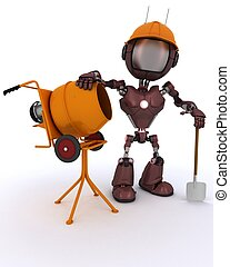 Android builder with cement mixer - 3D Render of an Android...