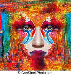 Close up portrait of woman color face - Portrait of woman...