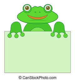 Green Frog Holding a Sheet of Paper on White Background