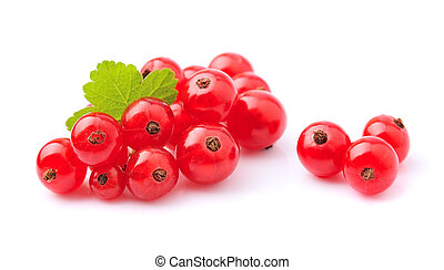 Red currants berry with leaves closeup on white backgrounds.
