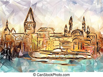 istanbul. abstract silhouette of city on multicolor...