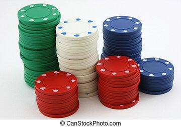 Poker chip stacks green, red, white, blue
