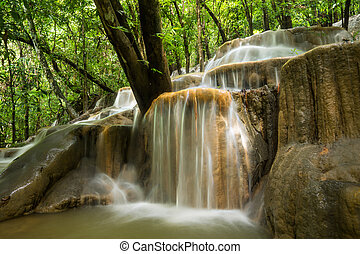 floresta tropical, pedra calcária, tailandia, Cachoeira