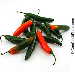 Bunch of serrano peppers, Capsicum annuum - Bunch of serrano...