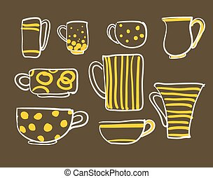 Set cups vector - Set icons tea coffee cups vector...