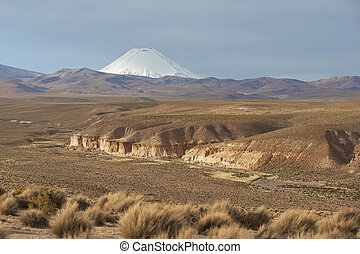 Volcano on the Altiplano - Snow covered peak of the...