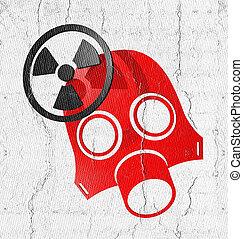radiação, vermelho, máscara,
