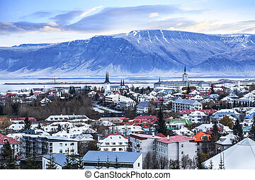 Beautiful aerial view of Reykjavik city, Iceland.