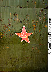 Abstract grunge military green background with red star -...