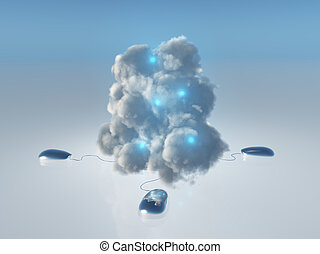 Cloud Computing Concept with Multiple Computer Mice and...