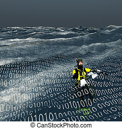 Diver floats at surface of binary sea Computer and internet...