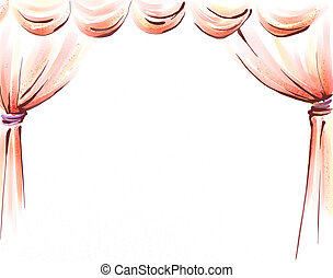 curtain - drawing of beautiful curtain in a white background