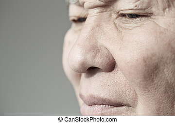 Elderly man - Face of elderly man looking away Horizontal...
