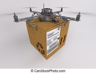 Quadcopter drone - 3d render of a quadcopter drone