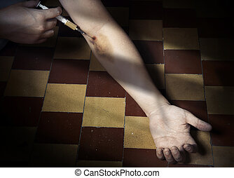 Stop narcotic - Hand of drug user in the dark interior with...