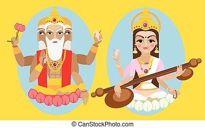 vector lord Brahma and Sarasvati devi - vector illustration...