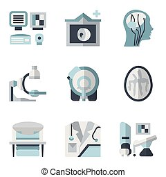 MRI blue and black flat vector icons