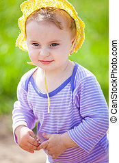 1 year old baby girl outdoor - Portrait of 1 year old baby...
