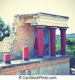 ruínas, de, a, Knossos, Palácio,