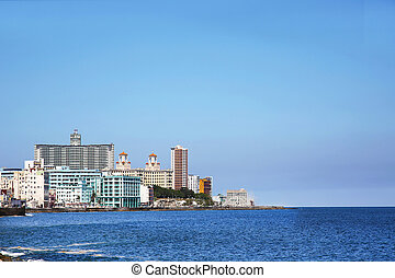 Vedado Havana Cuba - the Malecon in Vedado, a broad...