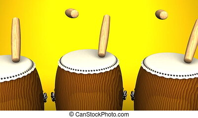 Loopable Asian Drums On Yellow Background