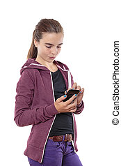 beautiful young woman with her smart phone, isolated on white