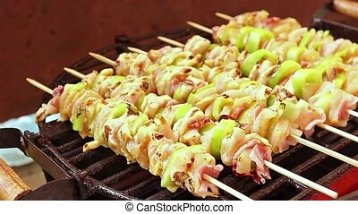 BBQ barbecuing skewers