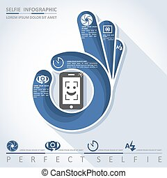 Perfect selfie - camera infographic, vector