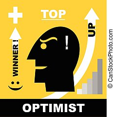 Optimist head icon. - Head Icon of optimistic man /...
