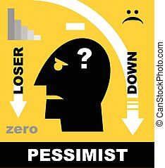 Pessimist. Head Icon of a loser. - Simple flat icon of a...