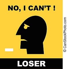Loser. Head Icon of a loser - Simple flat icon of a...