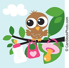 baby shower or newborn baby girl greeting card or gift bag...