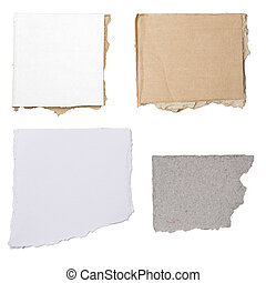 four different pieces of cardboard and paper, isolated on...