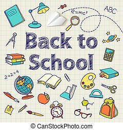 Back to school text end vector doodle - Back to school text...