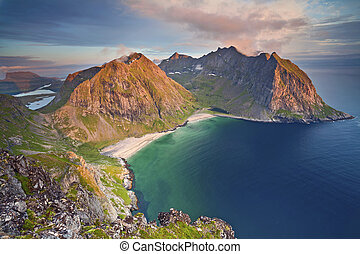 Lofoten Islands. - Image of Kvalvika Beach taken from Mount...